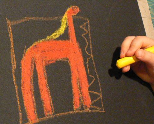 Kurs malování pro děti - příprava na voskovou frotáž