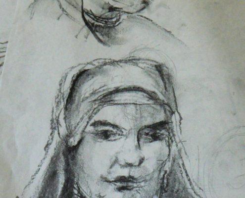 Kurz kresby pro dospělé - studie hlavy-kresba uhlem.