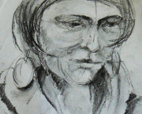 Kurz kresby pro dospělé Praha- studie hlavy-kresba uhlem.