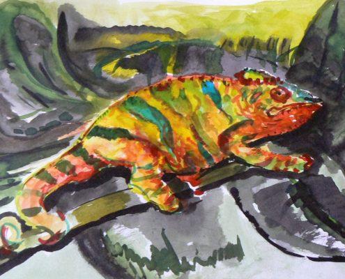 Kurz malování pro dospělé Praha - malba temperou chameleon