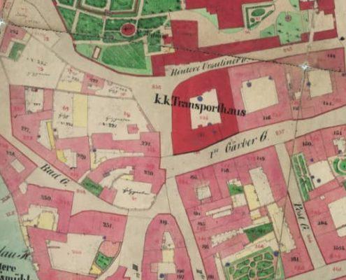 Mapa 1872 výtvarné kuryz Praha 1