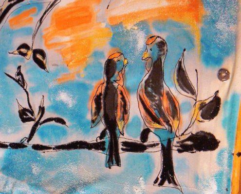 malba na hedvábí kurz Ateliér ŠUM