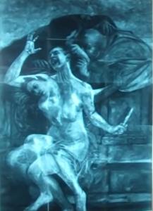 obraz pod infračerveným světlem: Zuzana a starci, 1610